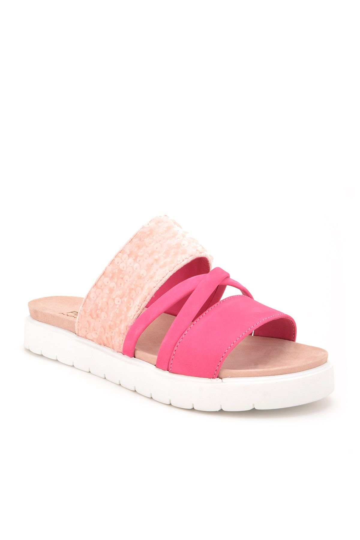 Pegia Alesia Women Slippers From Genuine Leather REC-005 Pink