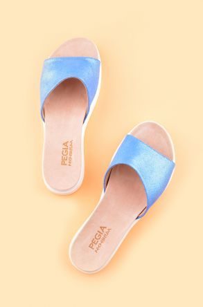 Pegia Drancy Women Slippers From Genuine Leather REC-006 Blue
