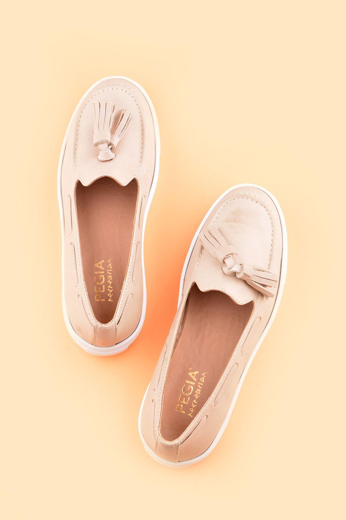 Pegia Pernety Hakiki Deri Bayan Günlük Ayakkabı REC-010 Bej