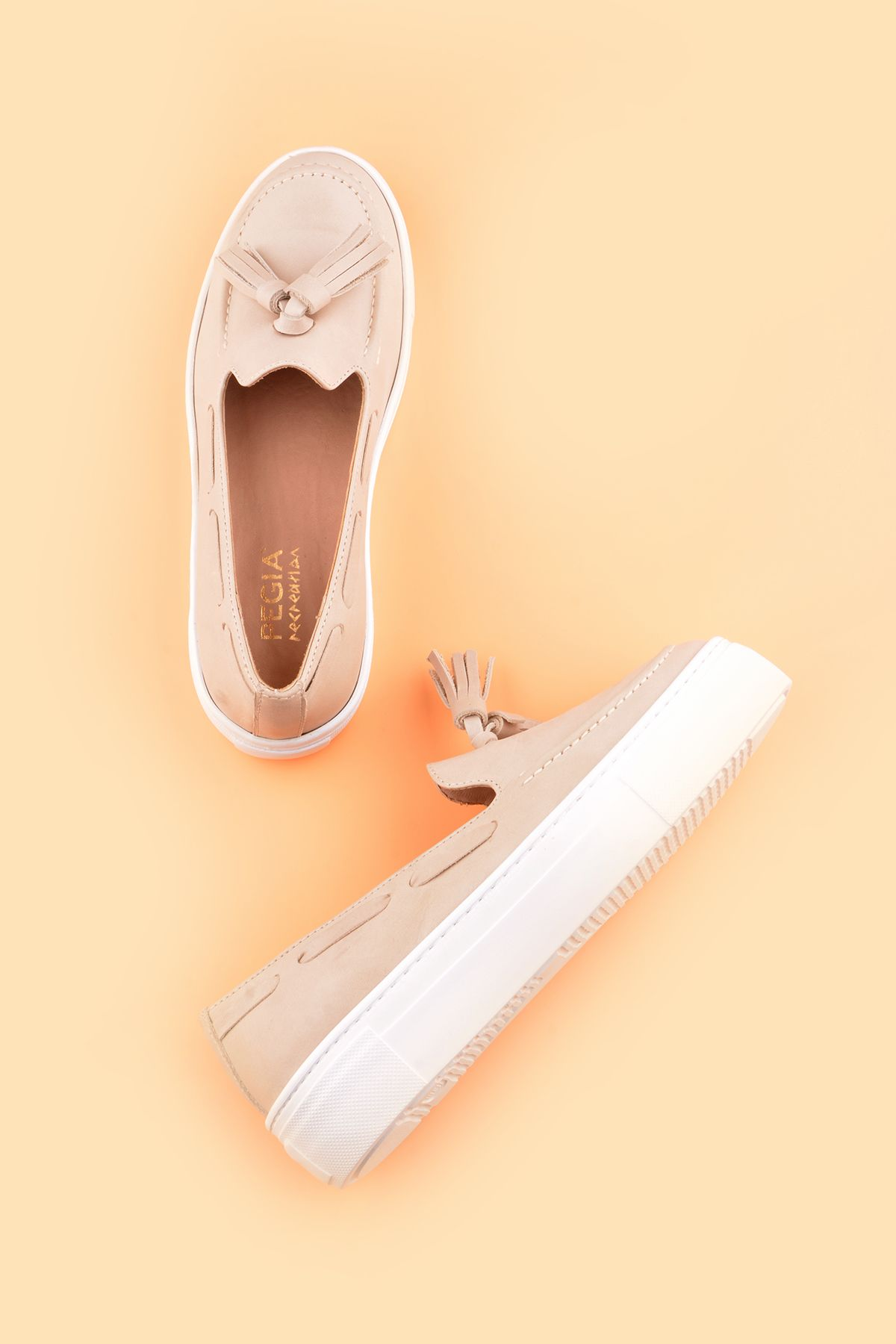 Pegia Pernety Casual Shoes From Genuine Leather REC-010 Beige