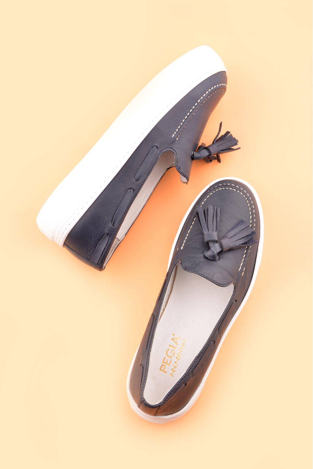 Pegia Pernety Hakiki Deri Bayan Günlük Ayakkabı REC-010 Lacivert