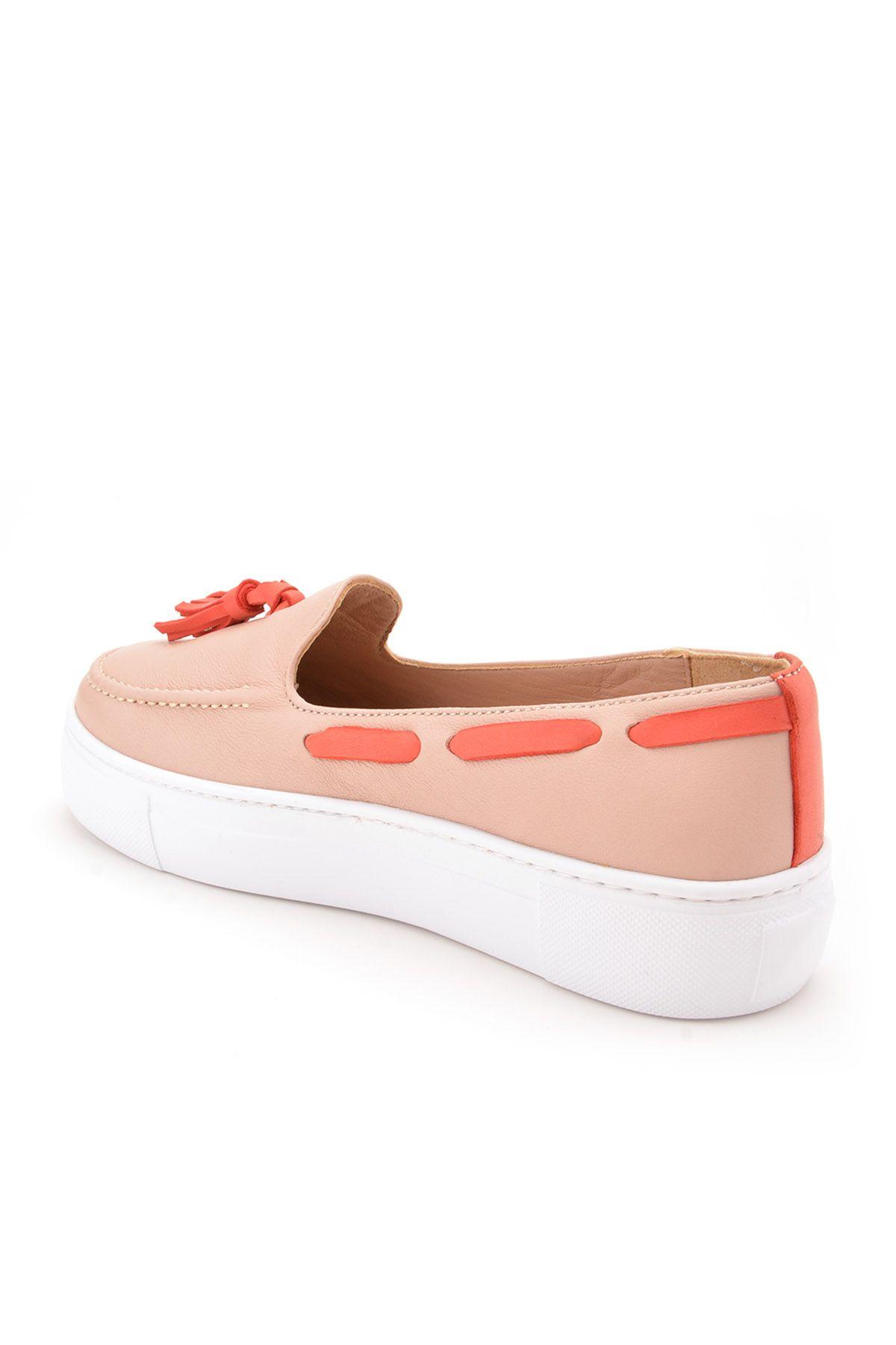 Pegia Pernety Hakiki Deri Bayan Günlük Ayakkabı REC-010 Krem