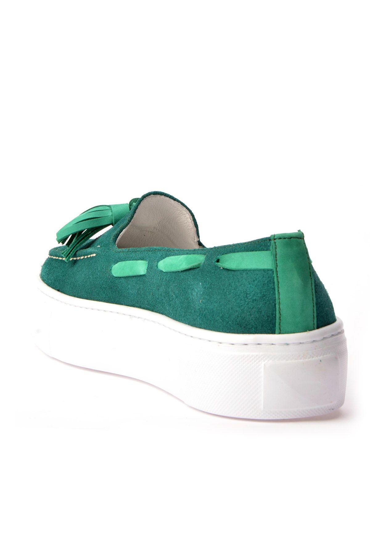 Pegia Pernety Hakiki Deri Bayan Günlük Ayakkabı REC-010 Yeşil
