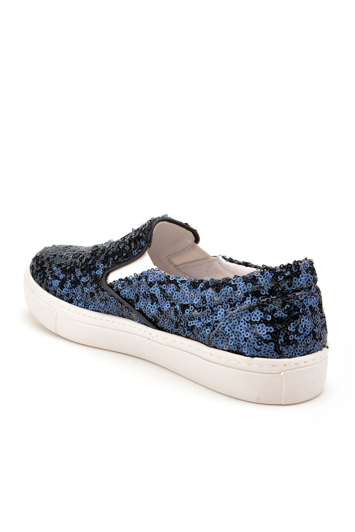 Pegia Sucre Sneakers From Genuine Leather Covered With Sequins REC-012 Navy blue