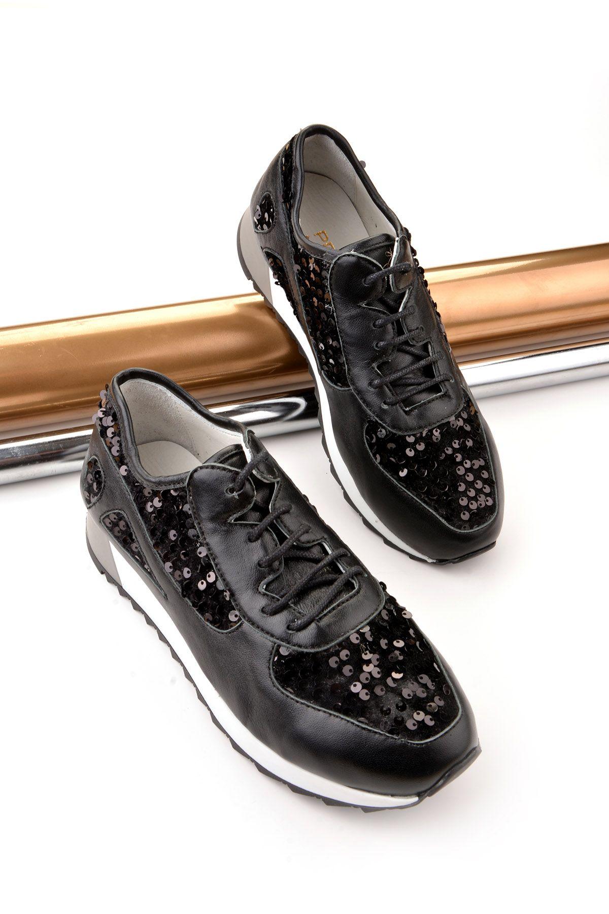 Pegia Anvers Hakiki Deri Bayan Spor Ayakkabı REC-013 Siyah