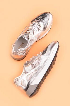 Pegia Anvers Sport Shoes From Genuine Leather REC-013 Silver