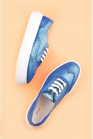 Pegia Chatalet Hakiki Deri Bayan Oxford Ayakkabı REC-014 Mavi