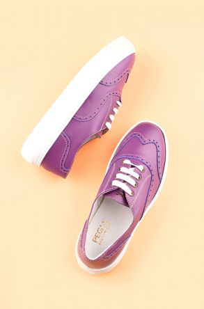 Pegia Chatalet Oxford Shoes From Genuine Leather REC-014 Purple