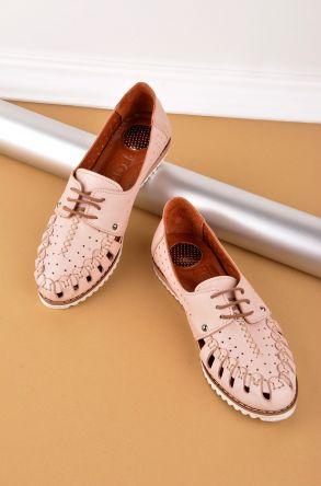 Pegia Шнурованная Женская Обувь Из Натуральной Кожи REC-123 Розовый