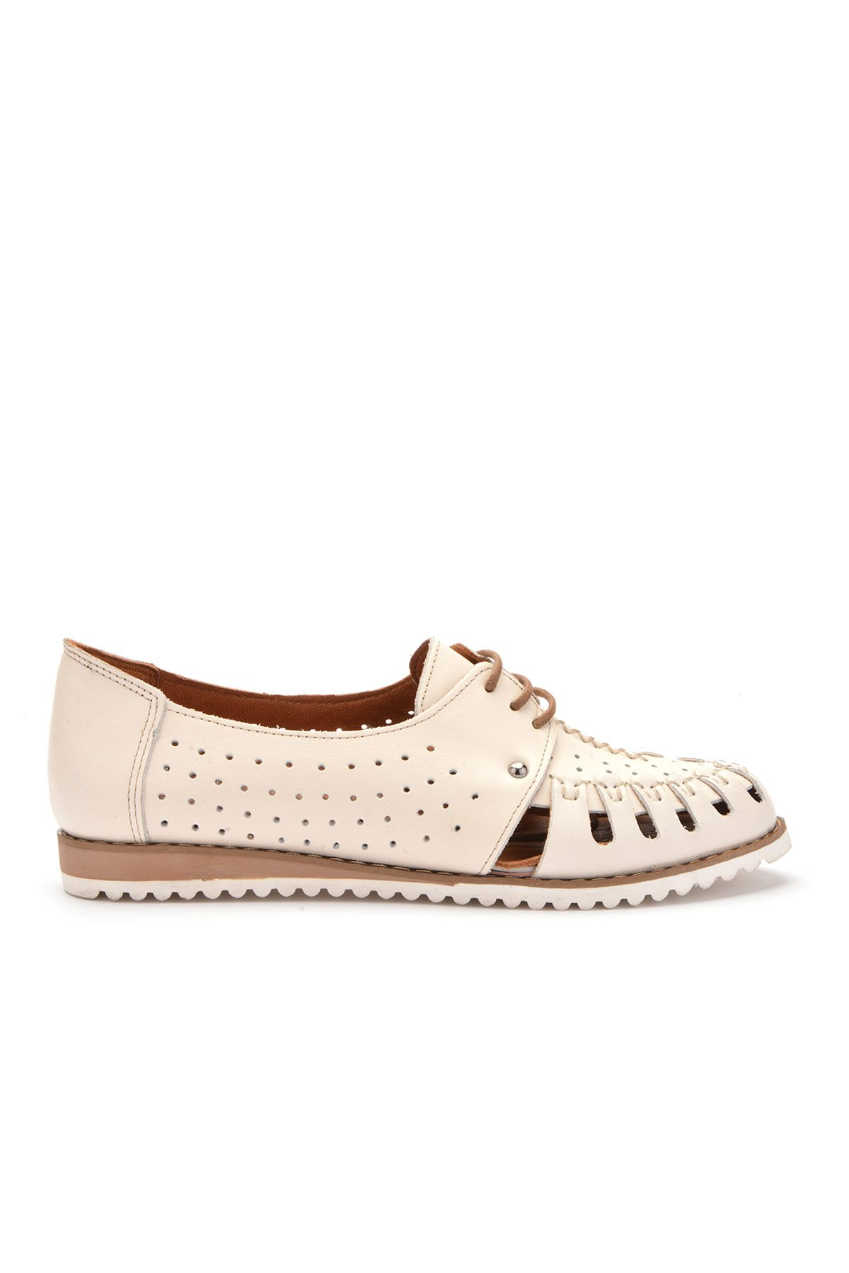 Pegia Hakiki Deri Bağcıklı Bayan Ayakkabı REC-123 Beyaz