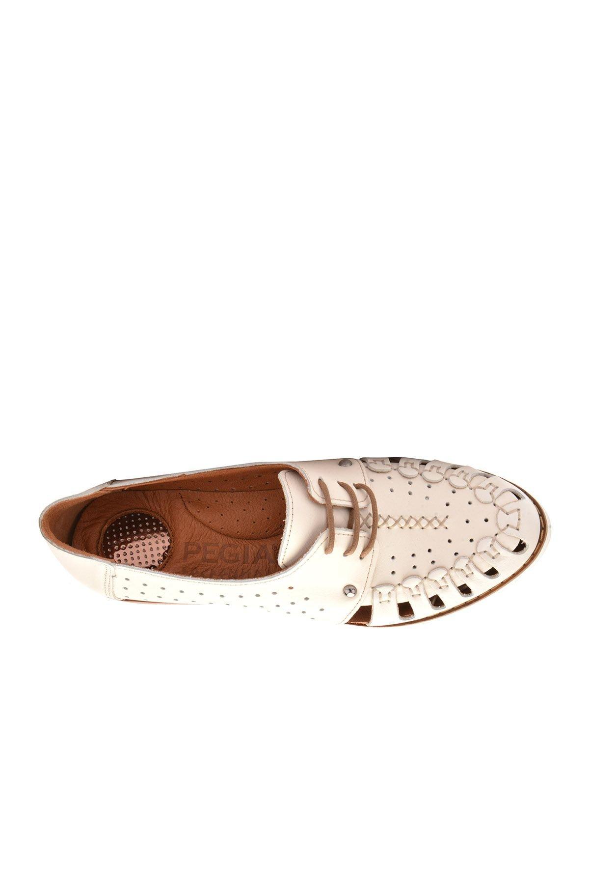 Pegia Шнурованная Женская Обувь Из Натуральной Кожи REC-123 Белый