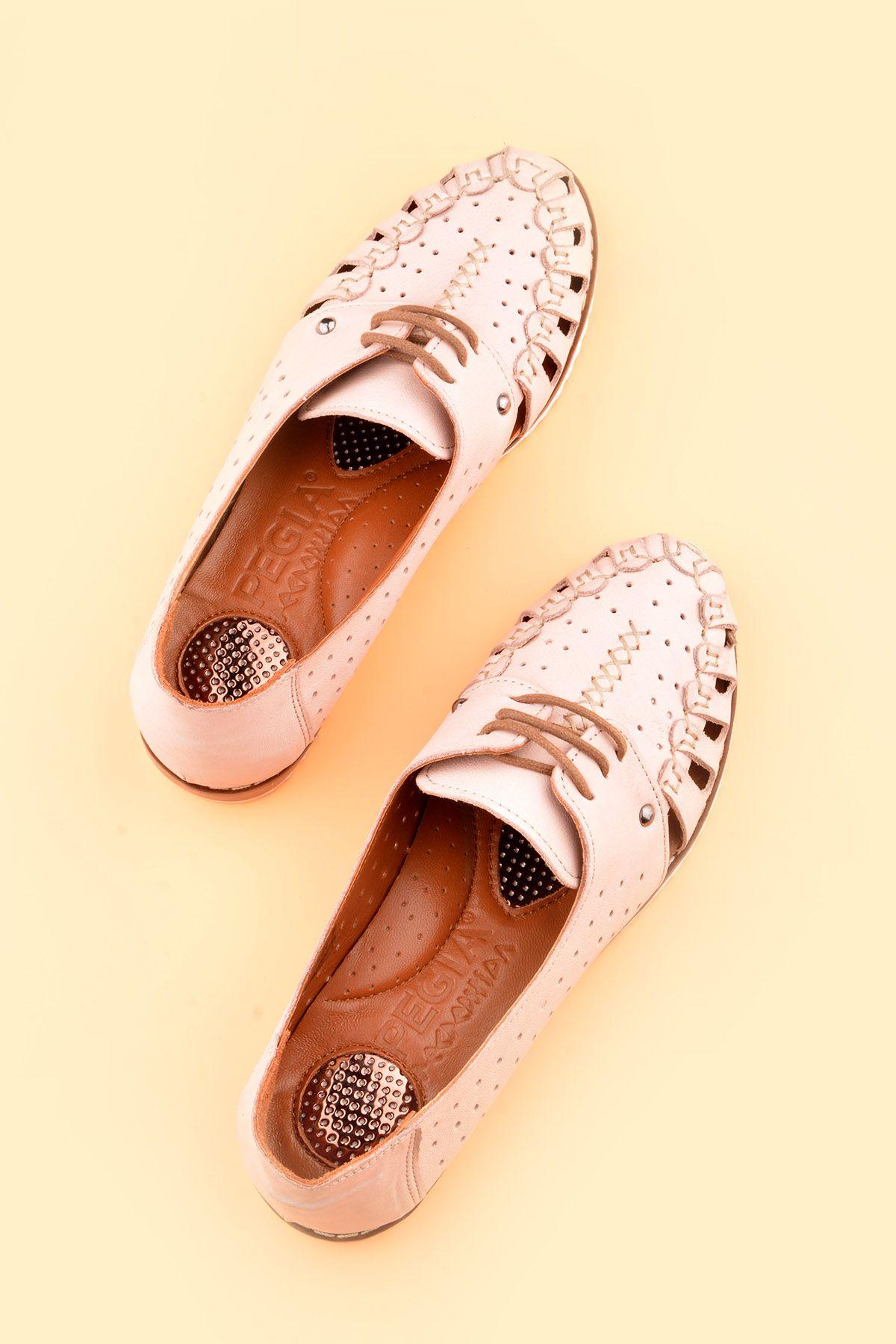 Pegia Hakiki Deri Bağcıklı Bayan Ayakkabı REC-123 Pembe