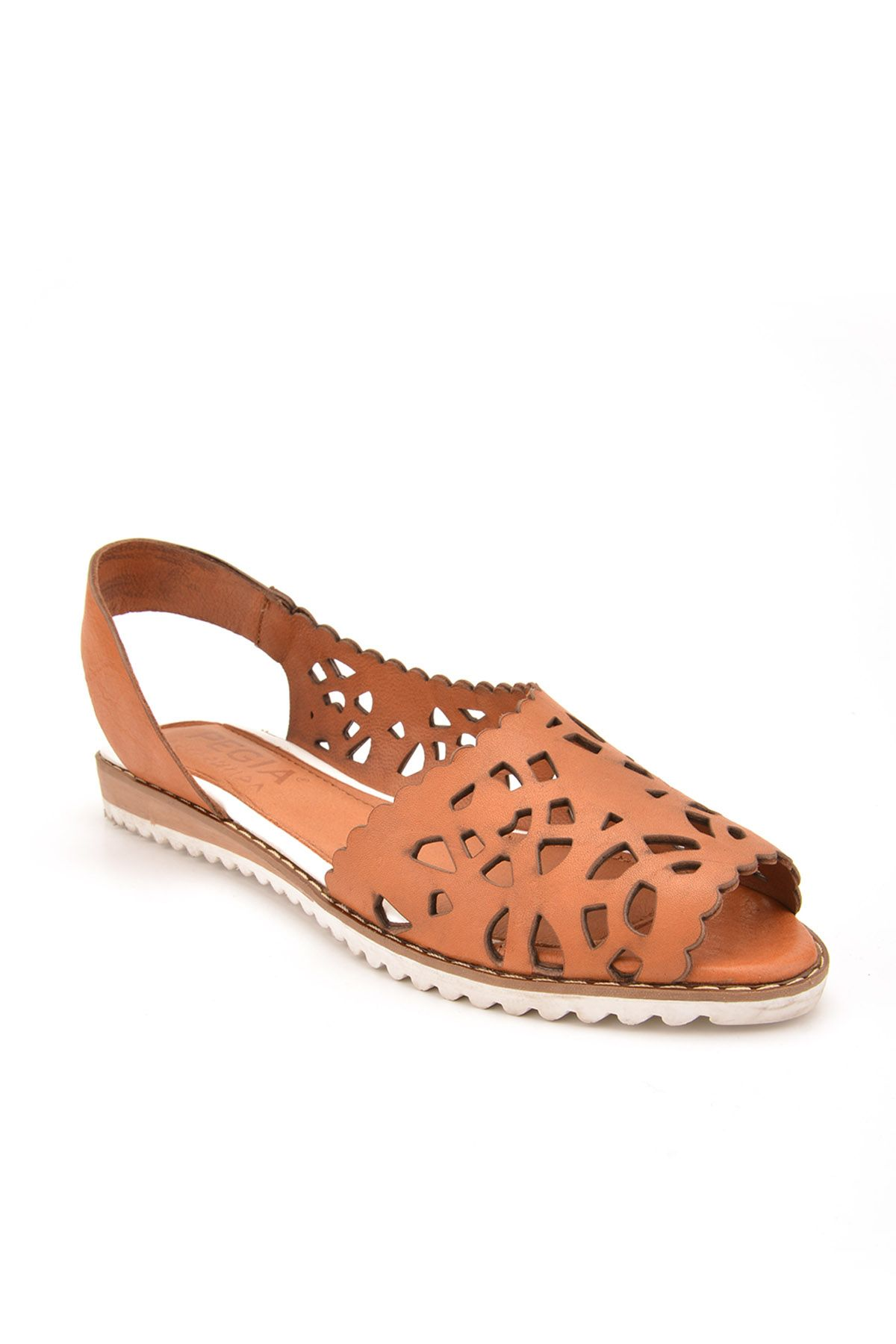 Pegia Open Fronted Women Sandals From Genuine Leather REC-128 Ginger