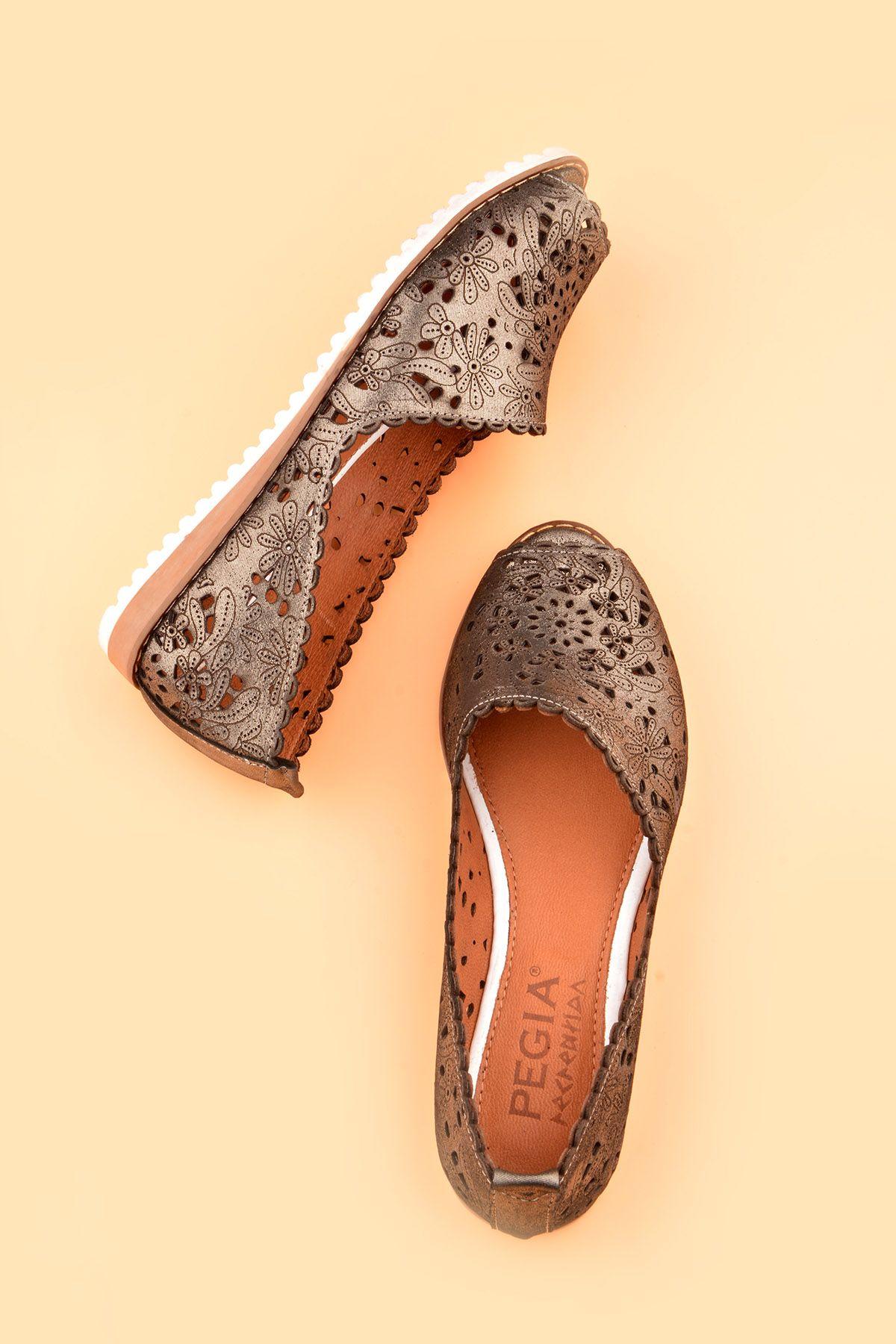 Pegia Hakiki Deri Önü Açık Bayan Ayakkabı REC-135 Siyah