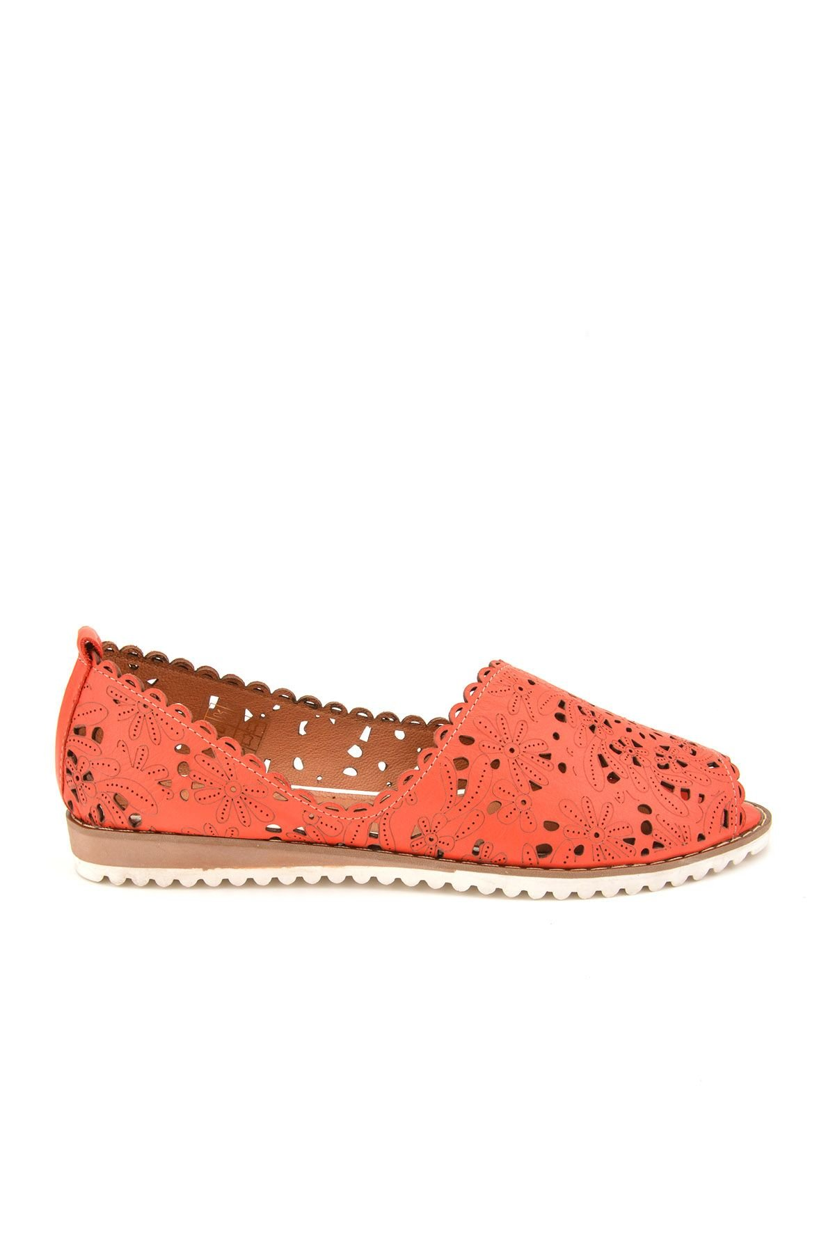 Pegia Open Fronted Women Shoes From Genuine Leather REC-135 Red