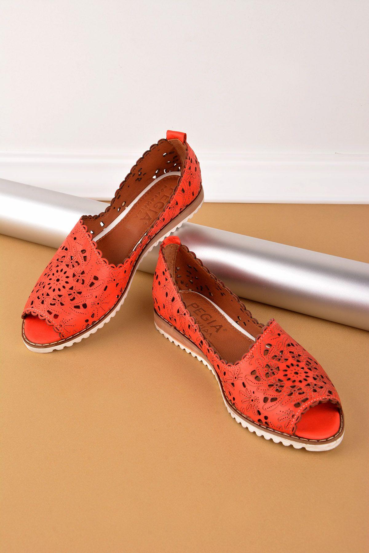 Pegia Hakiki Deri Önü Açık Bayan Ayakkabı REC-135 Kırmızı