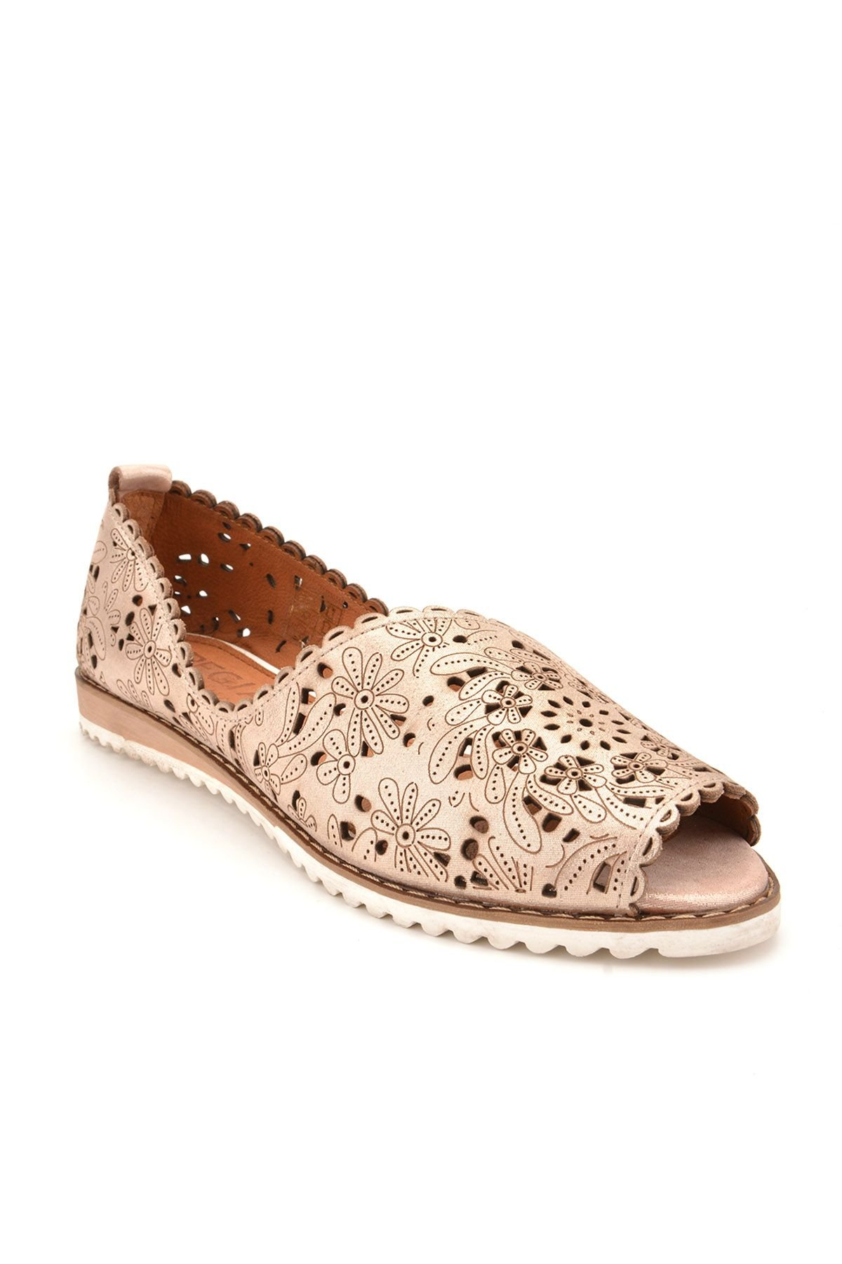 Pegia Open Fronted Women Shoes From Genuine Leather REC-135 Bronze
