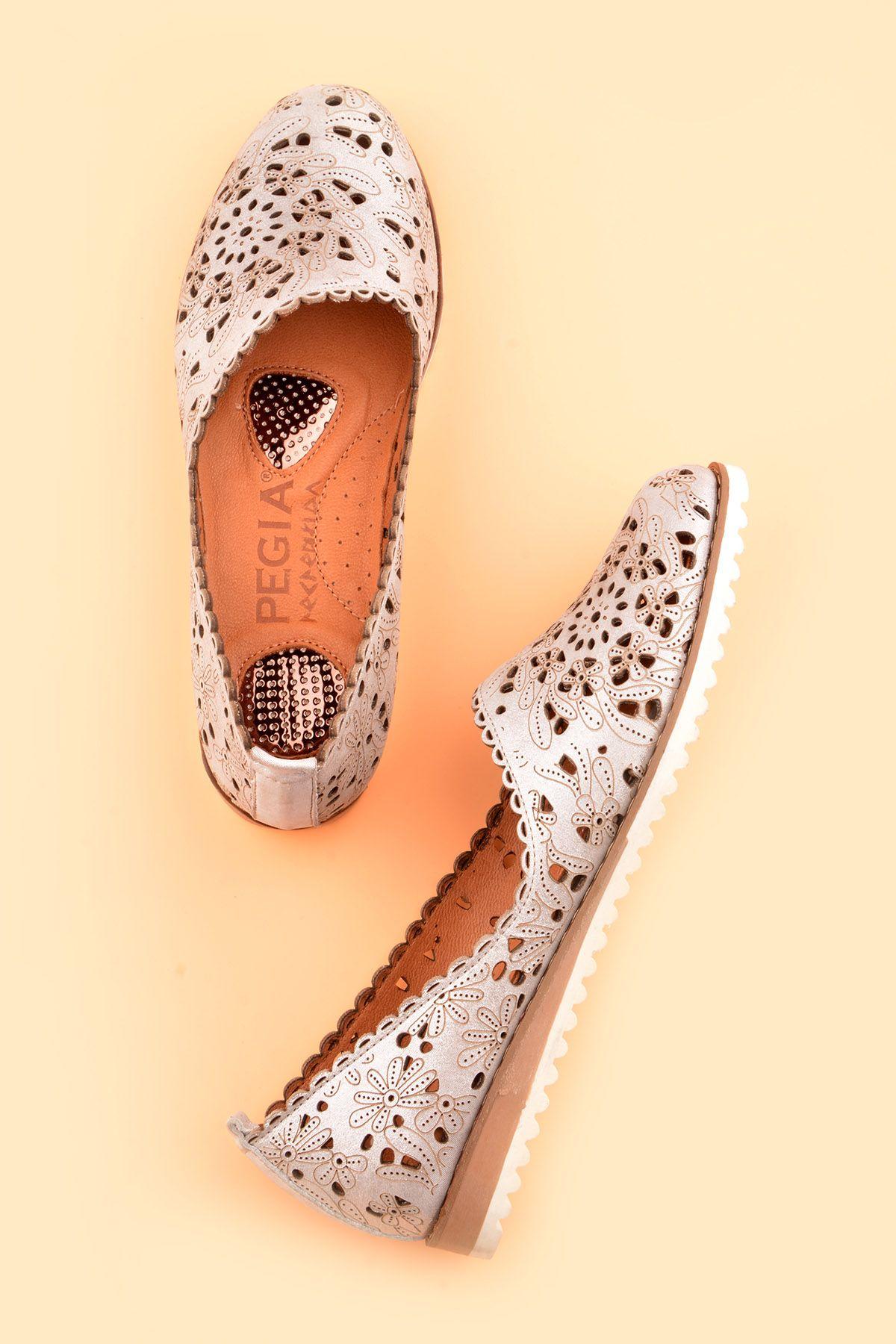 Pegia Открытая Женская Обувь Из Натуральной Кожи REC-141 Серебристый