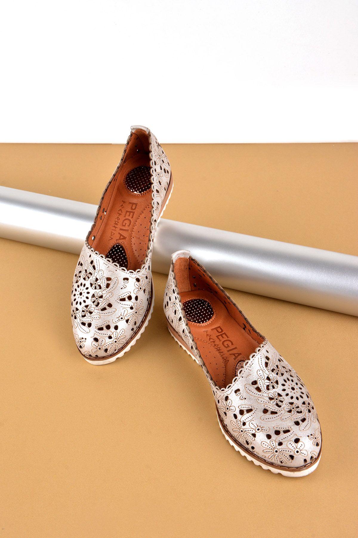 Pegia Hakiki Deri Bayan Ayakkabı REC-141 Gri
