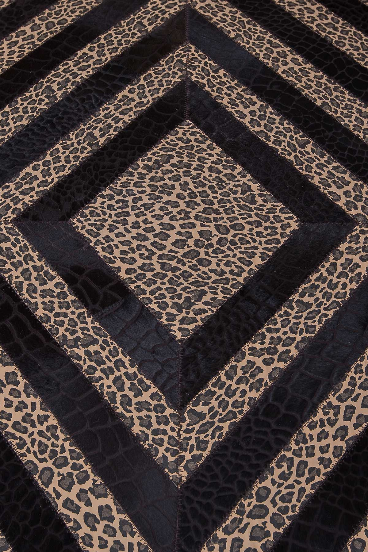 Erdogan Deri Leather Rug With Leopard Pattern Brown