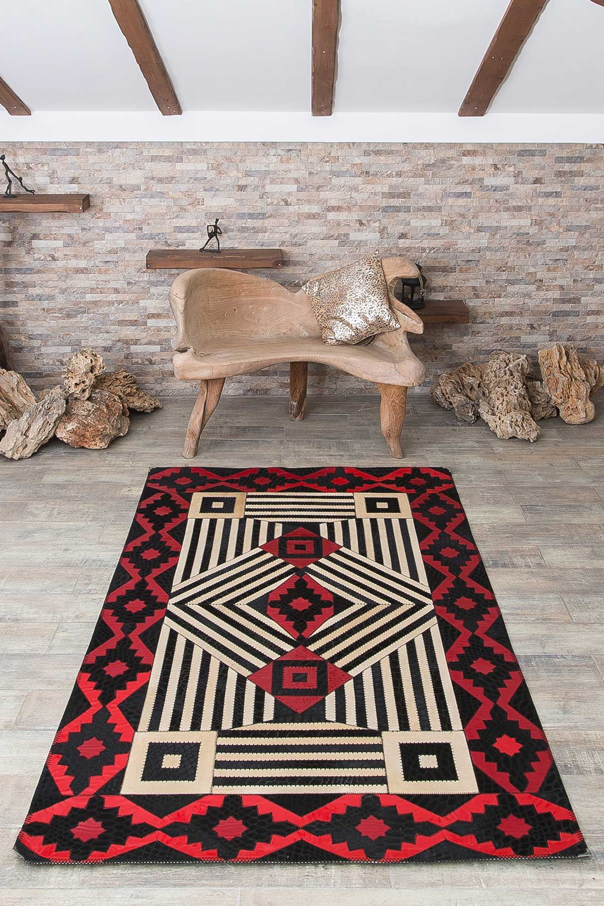 Erdogan Deri Calfskin Rug With Geometric Pattern Red