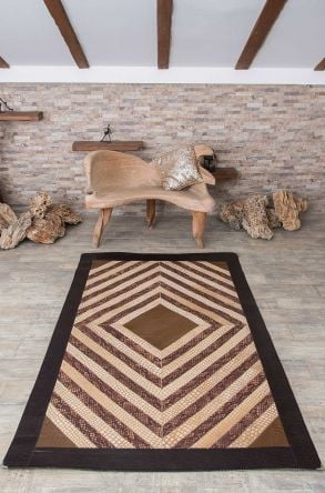 Erdogan Deri Calfskin Rug With Crocodile Pattern Brown