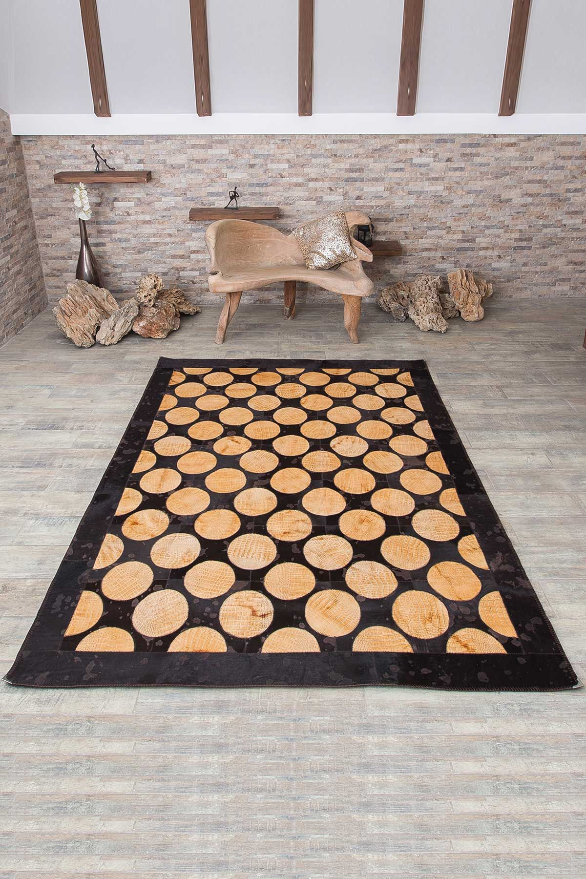 Erdogan Deri Calfskin Rug With Circular Pattern Brown