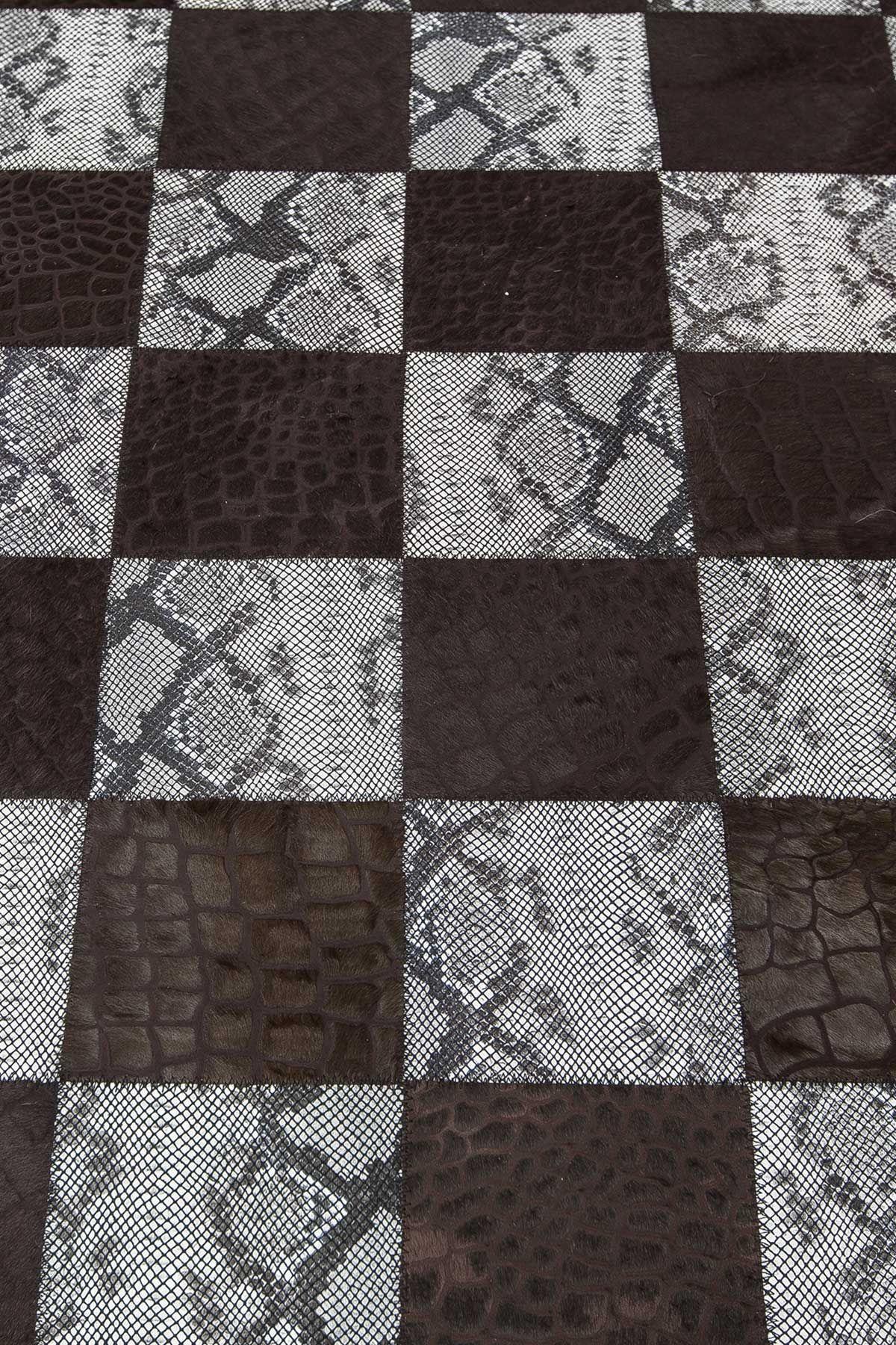 Erdogan Deri Calfskin Rug With Snake Square Pattern Brown