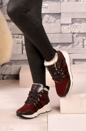 Pegia Laced Women Boots From Genuine Fur 157403 Claret red