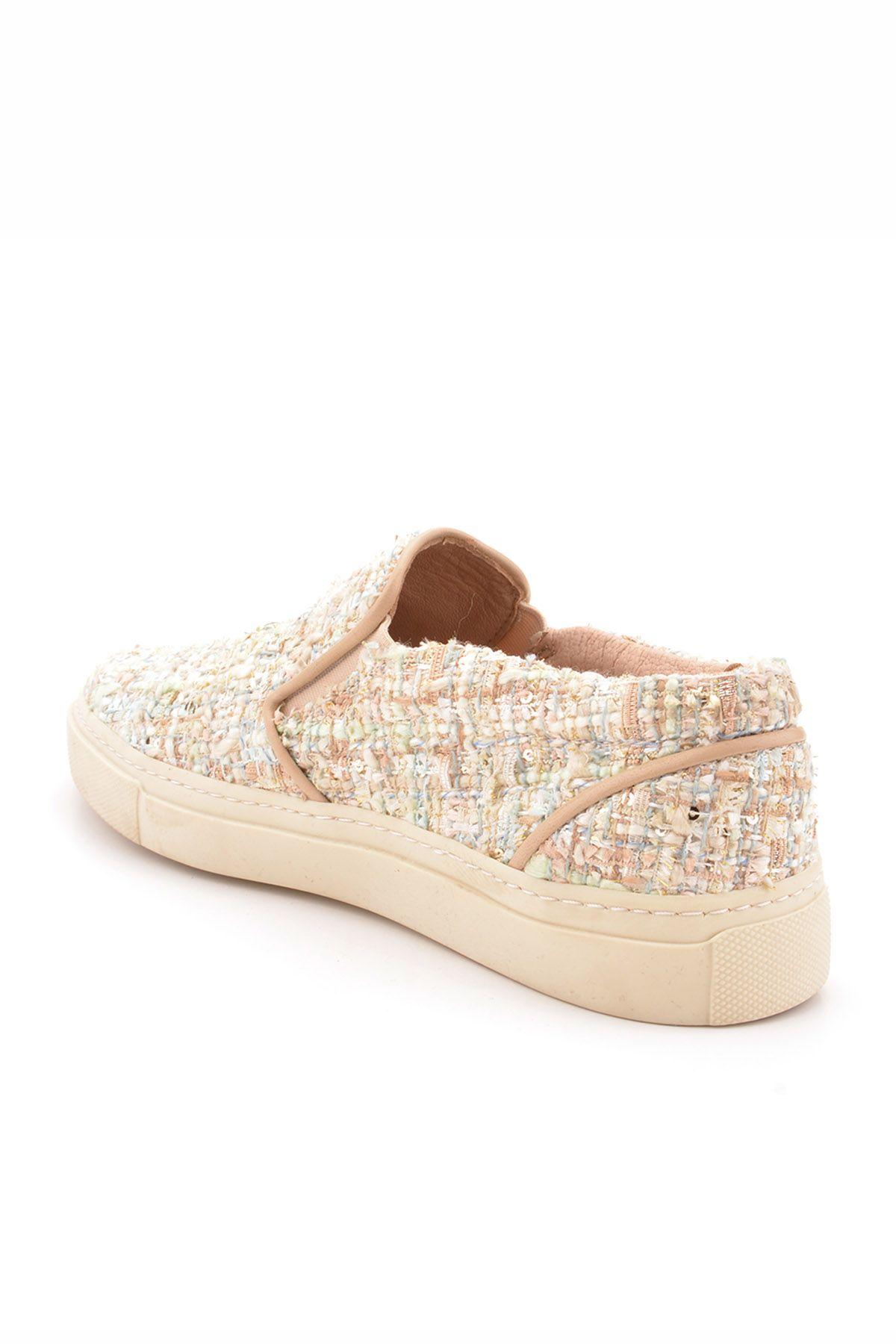 Pegia Fancy İçi Deri Kumaş Kaplamalı Sneaker Krem