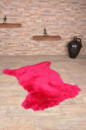Erdogan Deri Decorative Sheepskin Rug Plum