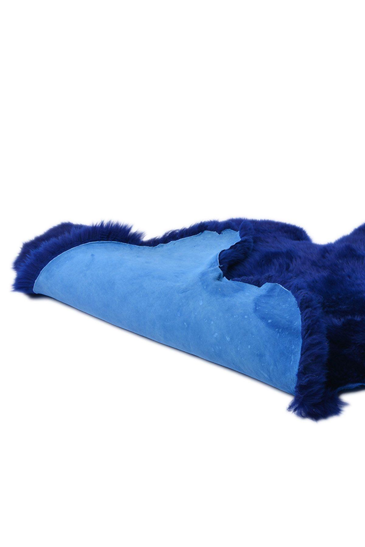 Erdogan Deri Decorative Sheepskin Rug Navy blue