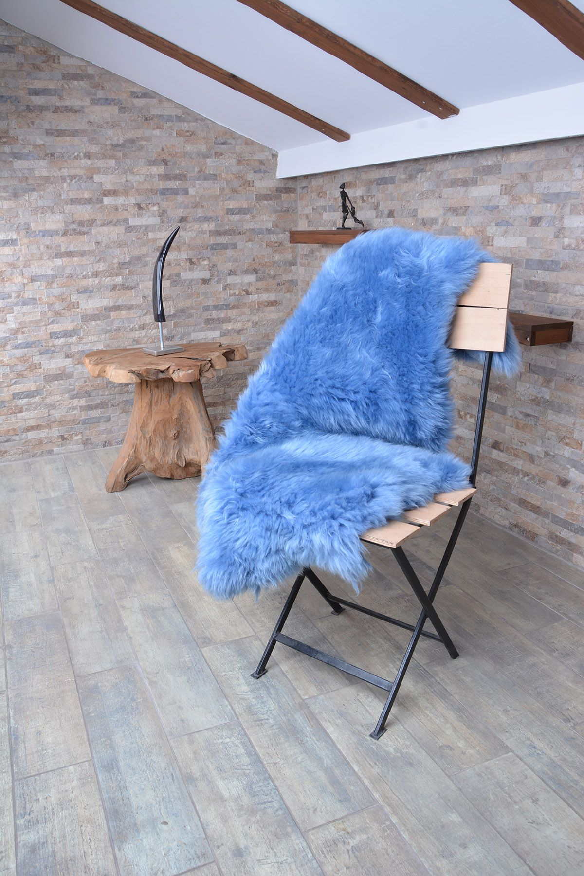 Erdogan Deri Decorative Sheepskin Rug Aqua