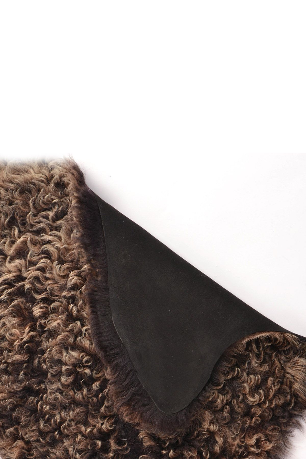 Erdogan Deri Curly Decorative Sheepskin Rug Black