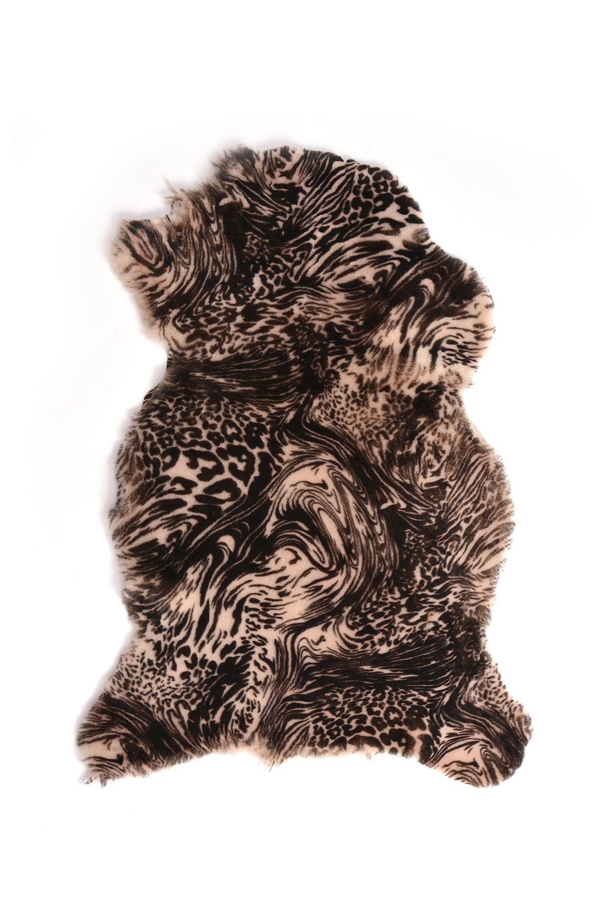 Erdogan Deri Patterned Decorative Sheepskin Rug Natural