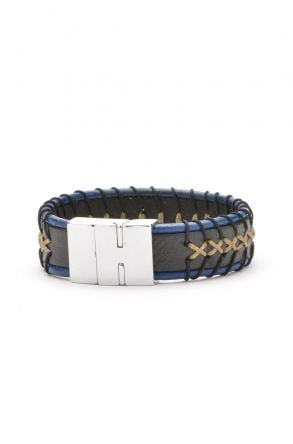 Erdogan Deri Unisex Leather Bangle 18BL01 Navy blue