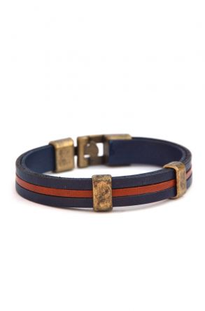 Erdogan Deri Unisex Leather Bangle Navy blue