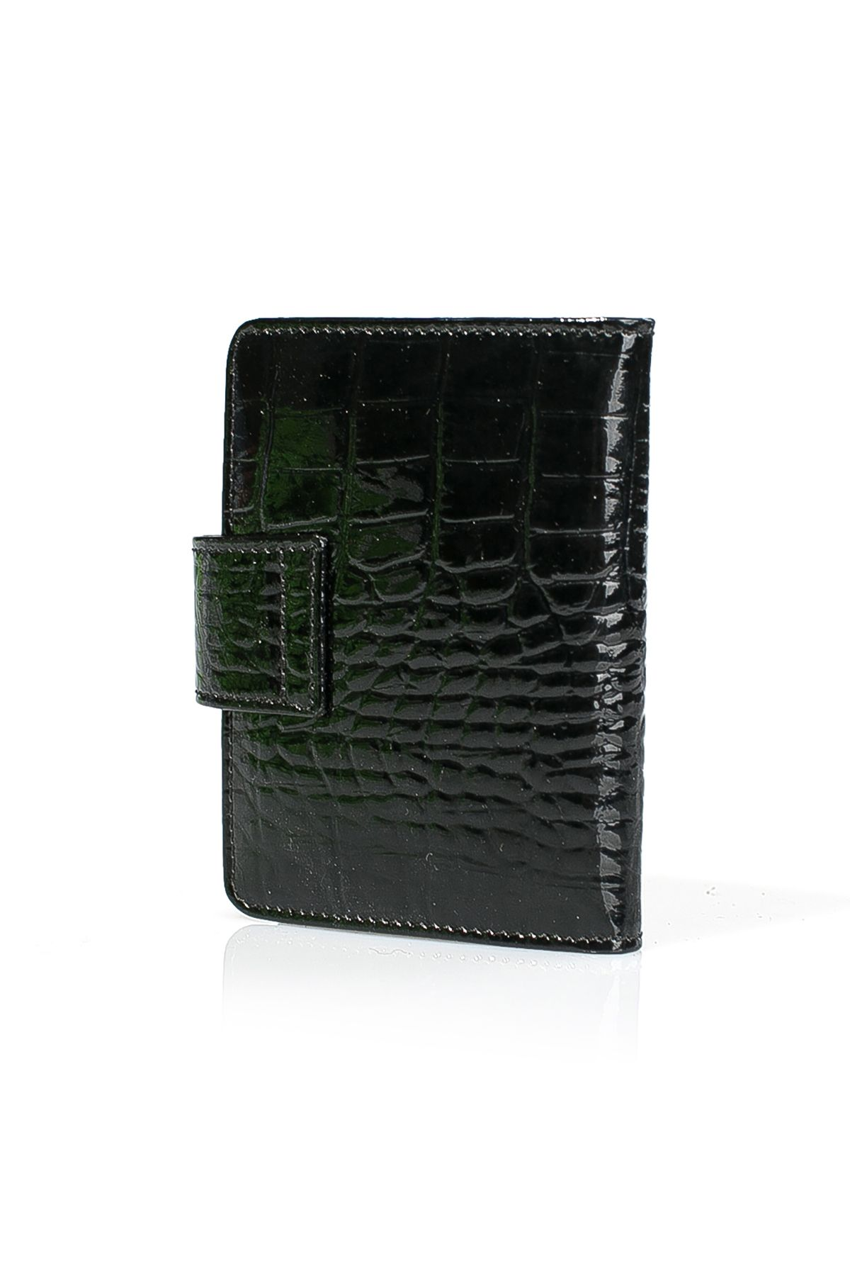 White Rabbit Wallet From Polished Leather With Snake Pattern Black