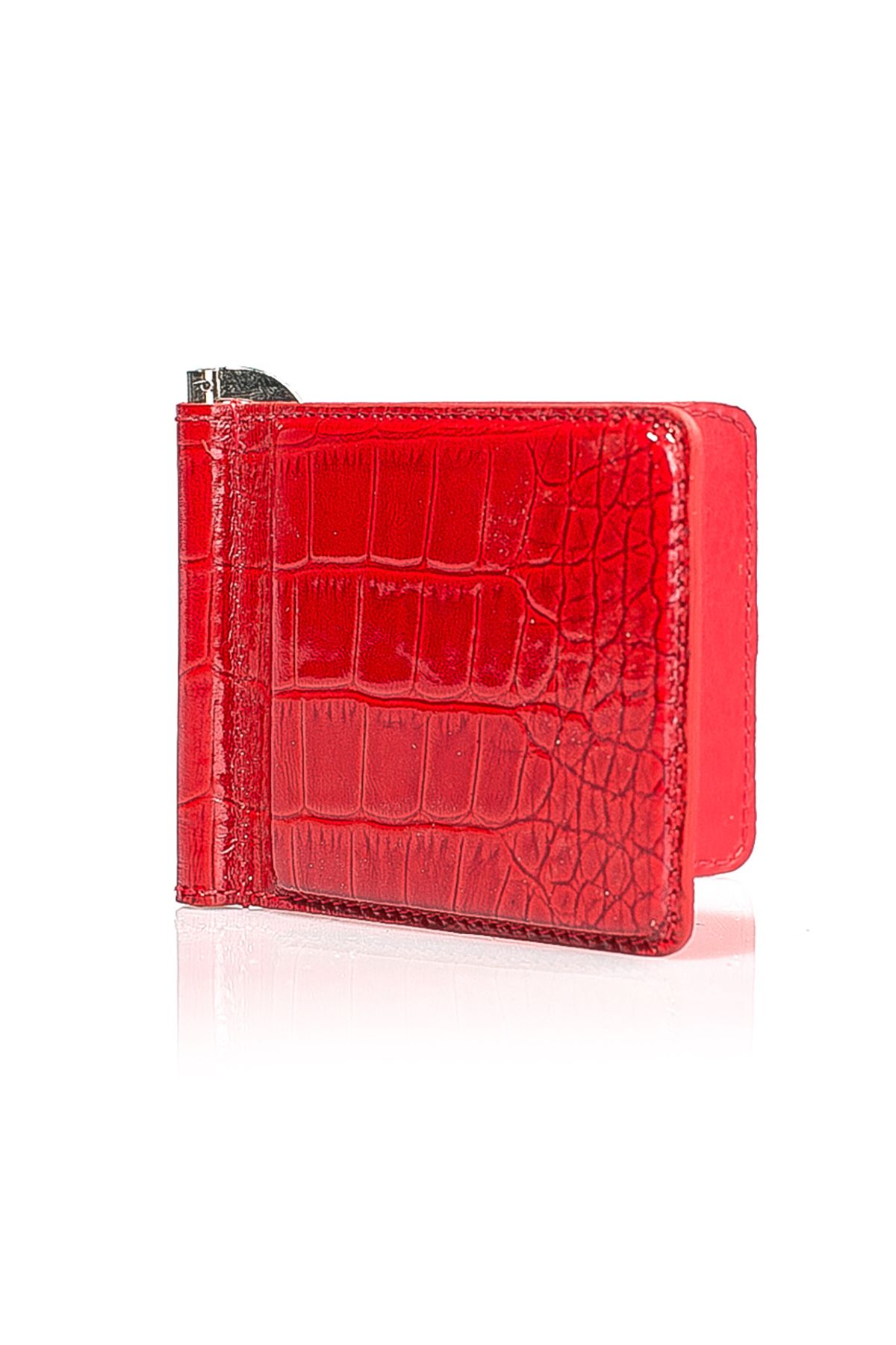 White Rabbit Leather Money Clip With Snake Pattern Red