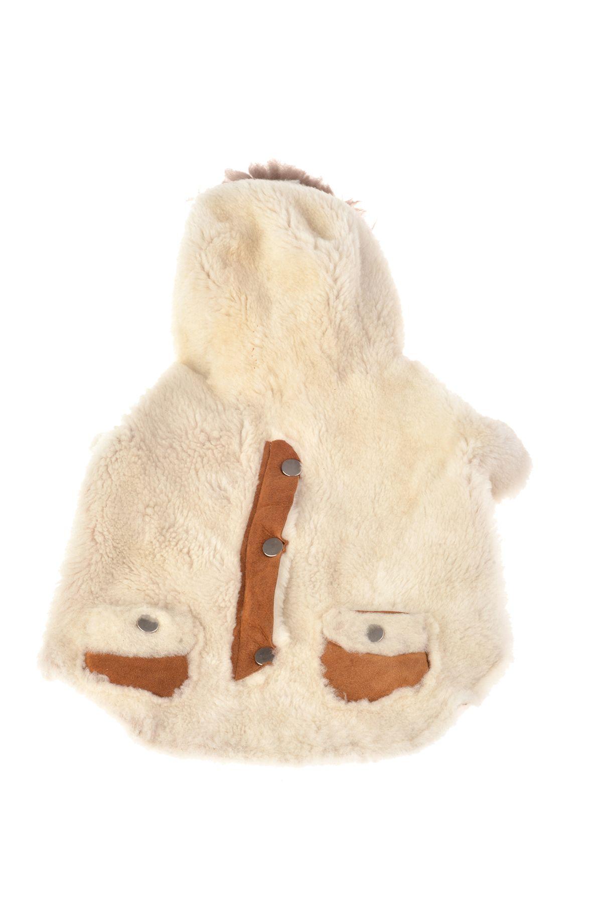 Pegia Hakiki Kürklü Kapşonlu Köpek Ceket PTS002 Beyaz
