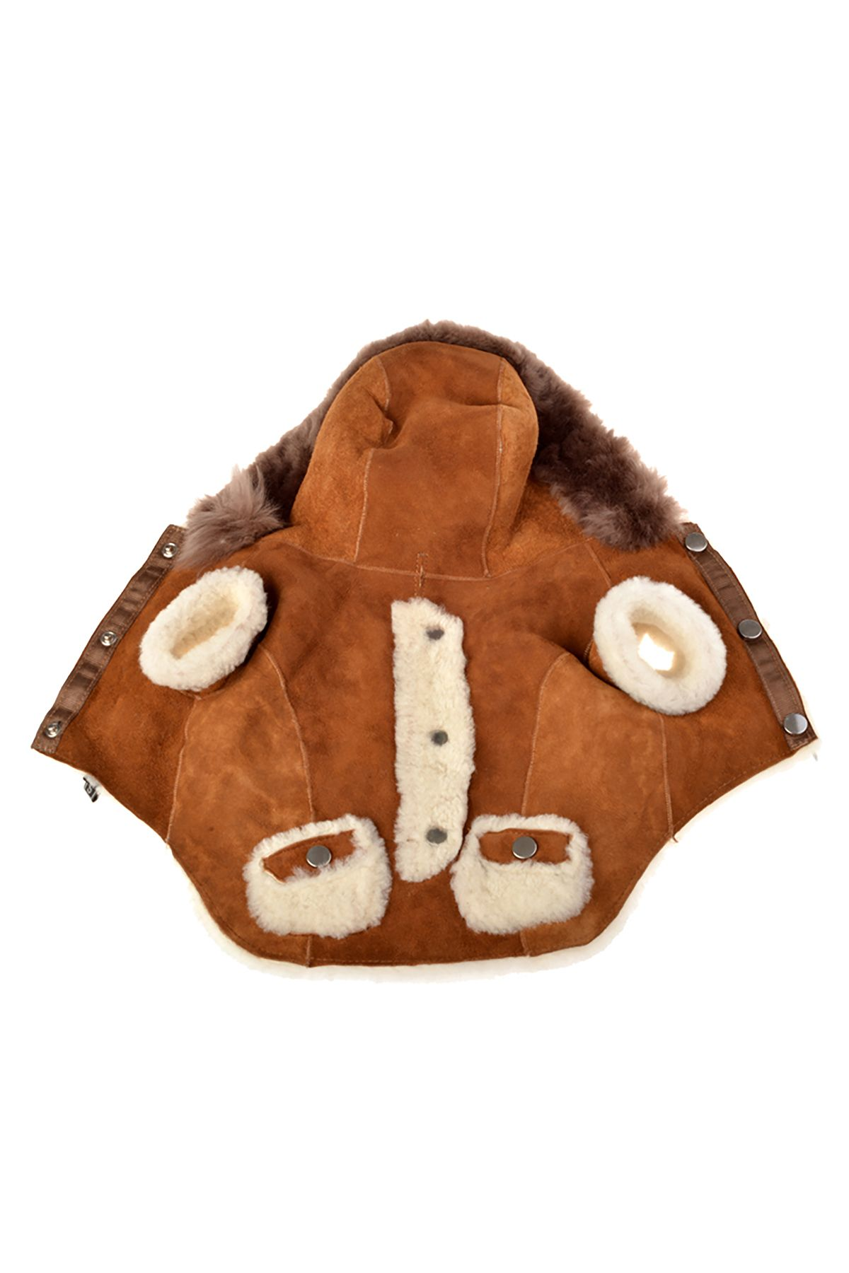 Pegia Dog Jacket From Genuine Fur With Capuchon Ginger