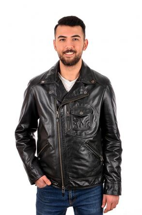 Pegia Men Jacket From Vintage Leather Black