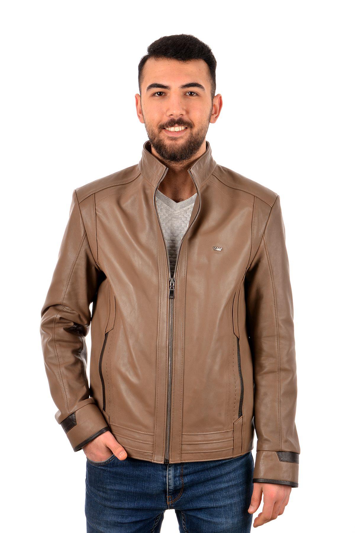 Pegia Men Leather Jacket Light Brown