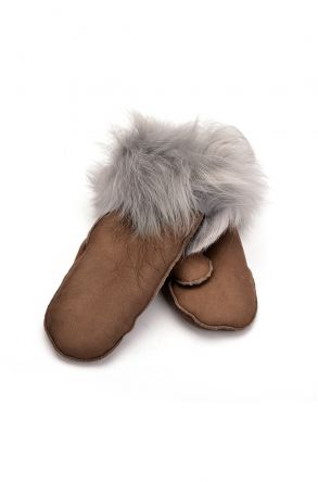 Pegia Kids Gloves From Genuine Leather And Sheepskin Fur Gray