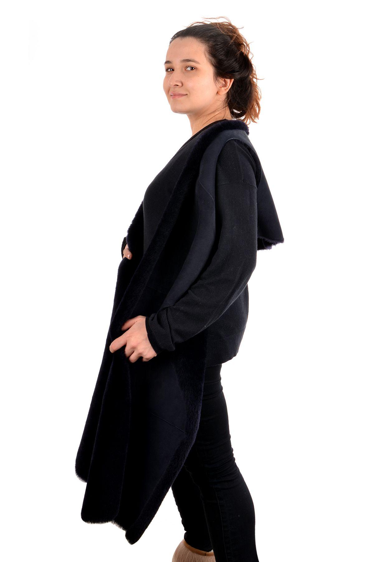 Pegia Women Vest-Shawl From Genuine Fur Navy blue