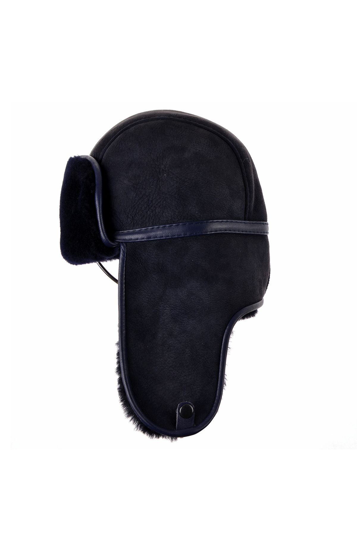 Pegia Ear-Flaps Hat From Genuine Suede And Fur Navy blue