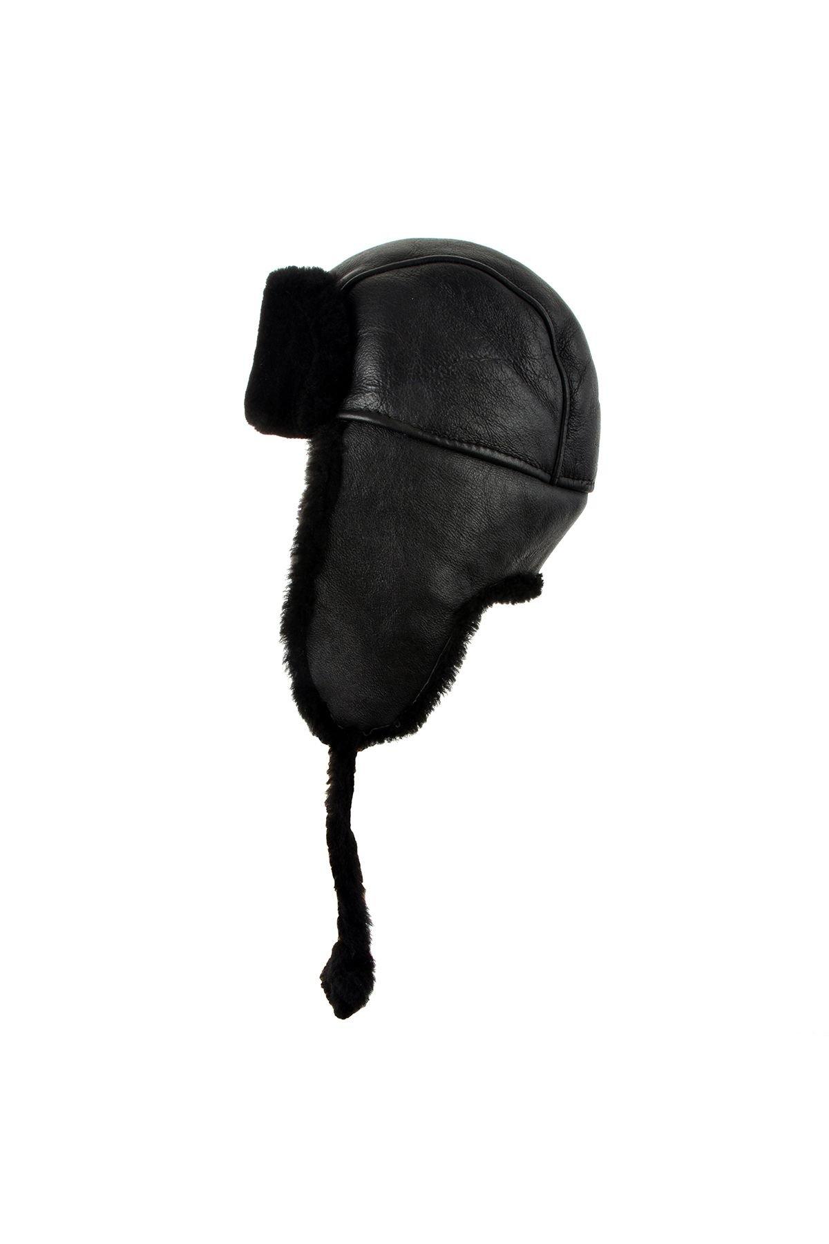 Pegia Hakiki Deri İçi Kürk Kulaklıklı Şapka 18AS07 Siyah