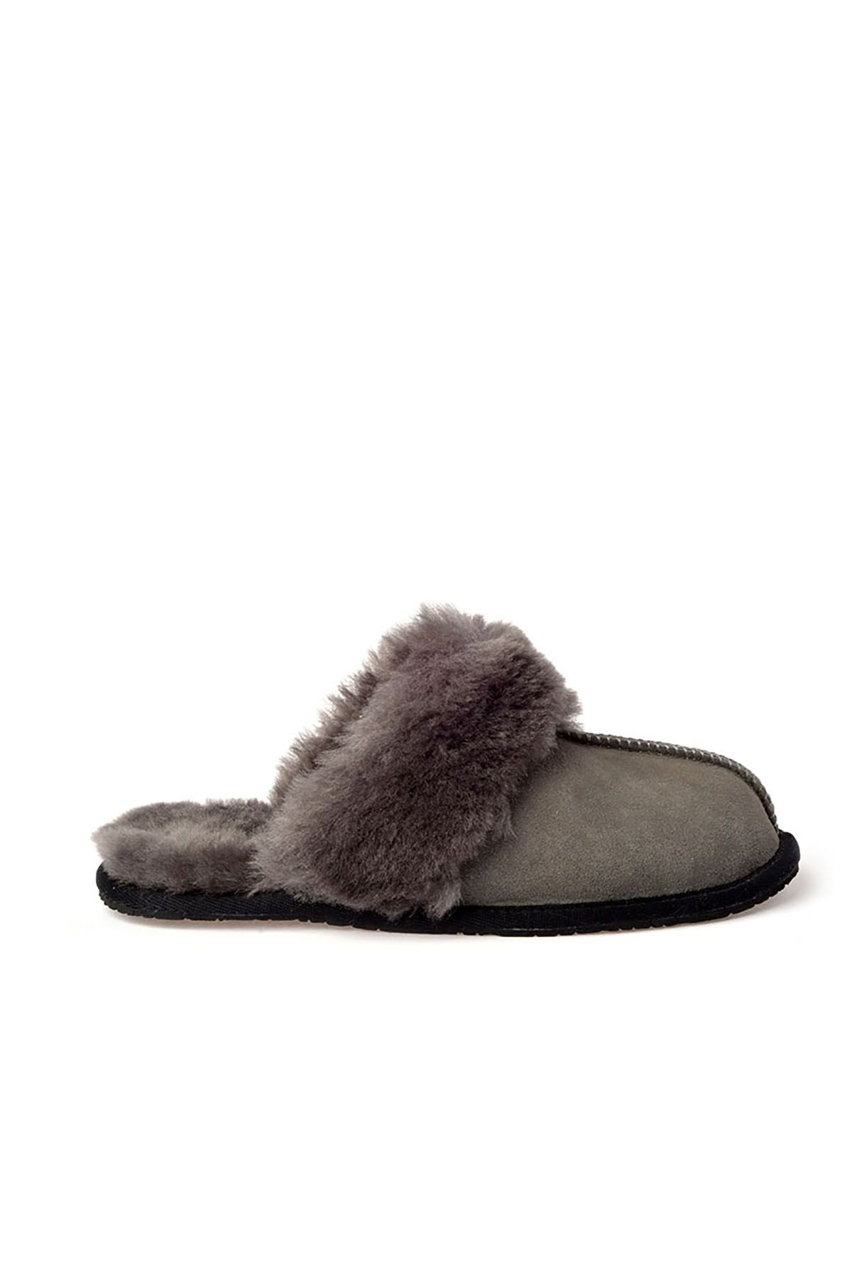 Pegia Unisex House-shoes From Genuine Suede & Fur Gray