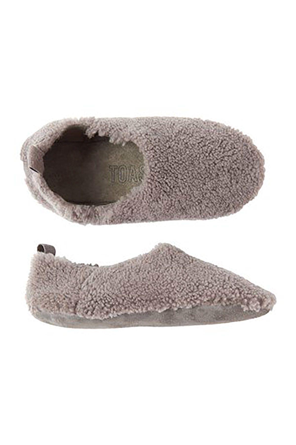 Pegia Hakiki Kürklü Bayan Ev Ayakkabısı Toast Gri