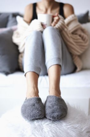 Pegia Women House-shoes From Natural Fur Gray